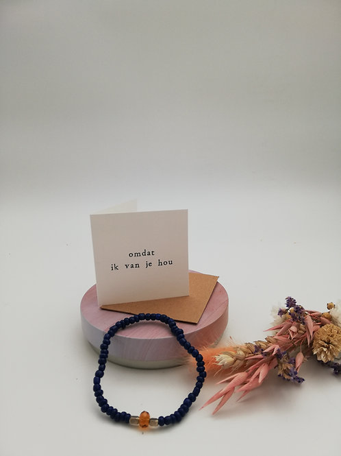 Armband met kaart 'Omdat ik van je hou'