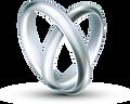 verschlungene Ringe bilden ein Herz