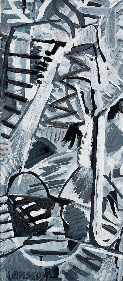 Lanskoy (1902-1976) - Composition en noir et blanc, 1960 Gouache sur carton, 55 cm x 26 cm