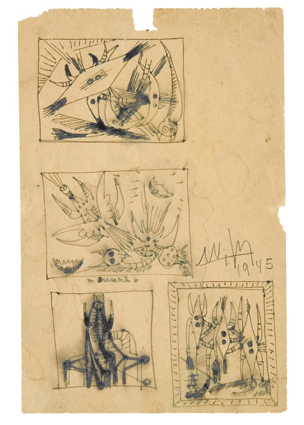 3)1945, ST, encre de chine, 1945