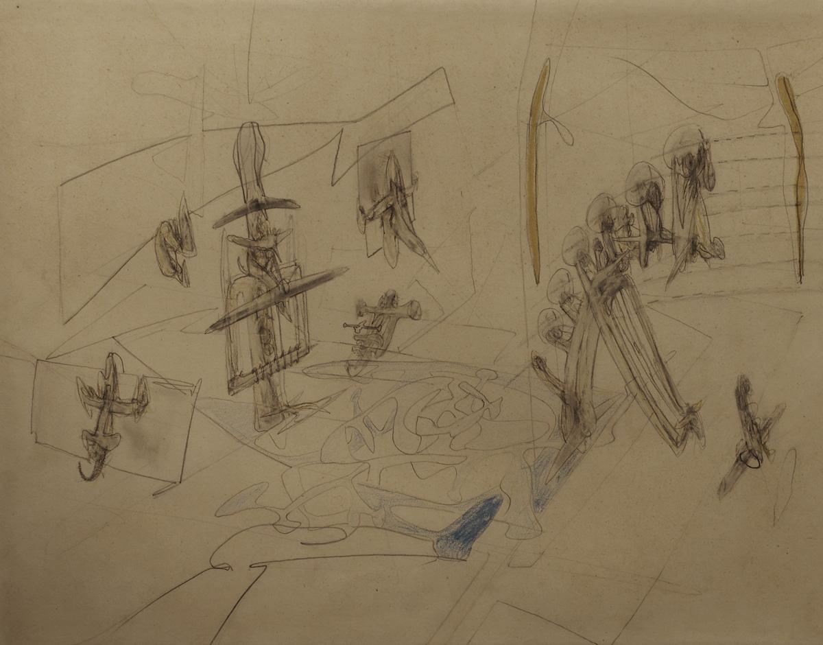 Matta (1911-2002) - Mort Ilaleur, 1947 Crayon de cire et mine de plomb sur papier, 29 x 37 cm