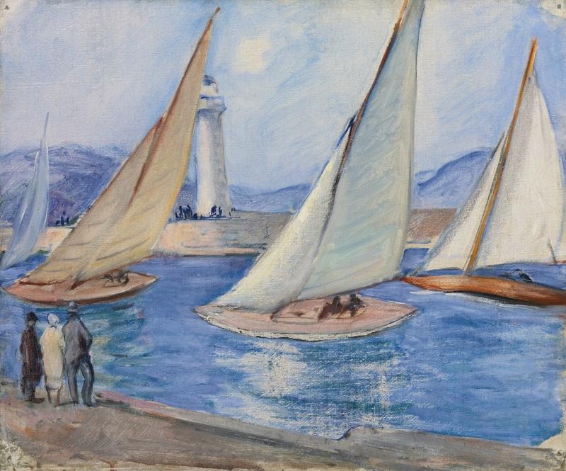 Lebasque_(1865-1937)_-_Le_départ_de_la_régate,_Saint-Tropez,_c._1920,_Huile_sur_toile,_38,7_x_46,6_c