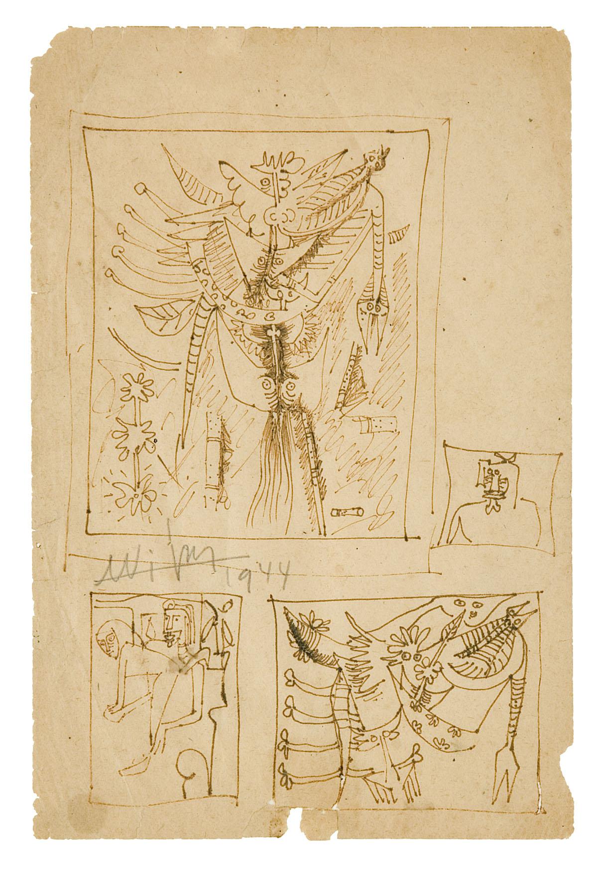 1) affiche 1944, ST, encre chine,1944
