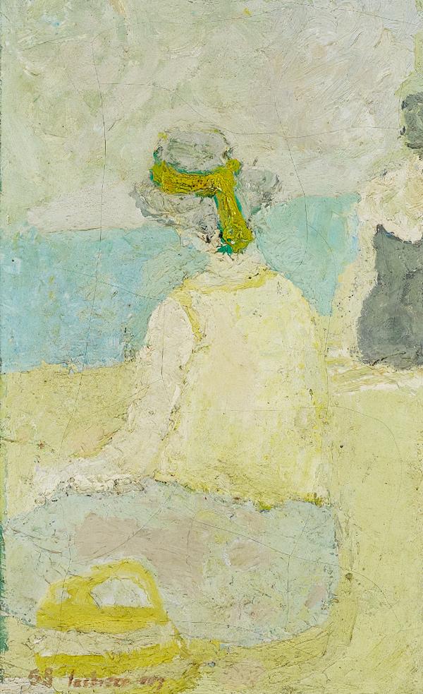 Lachièze-Rey_(1927-1974)_-_Sur_la_plage,_1958_Huile_sur_toile,_54_cm_x_33.5_cm