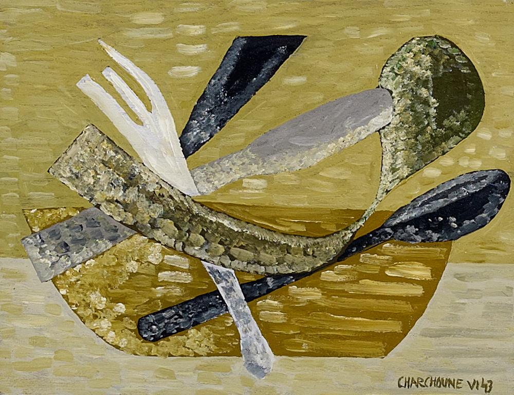 Charchoune (1888-1975) - Nature morte à la cuillère, 1943 Huile sur panneau, 21 cm x 27 cm
