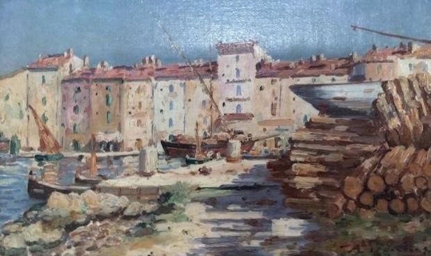 pégurier_Port_de_Saint_Tropez_Huile_sur_toile_25x40