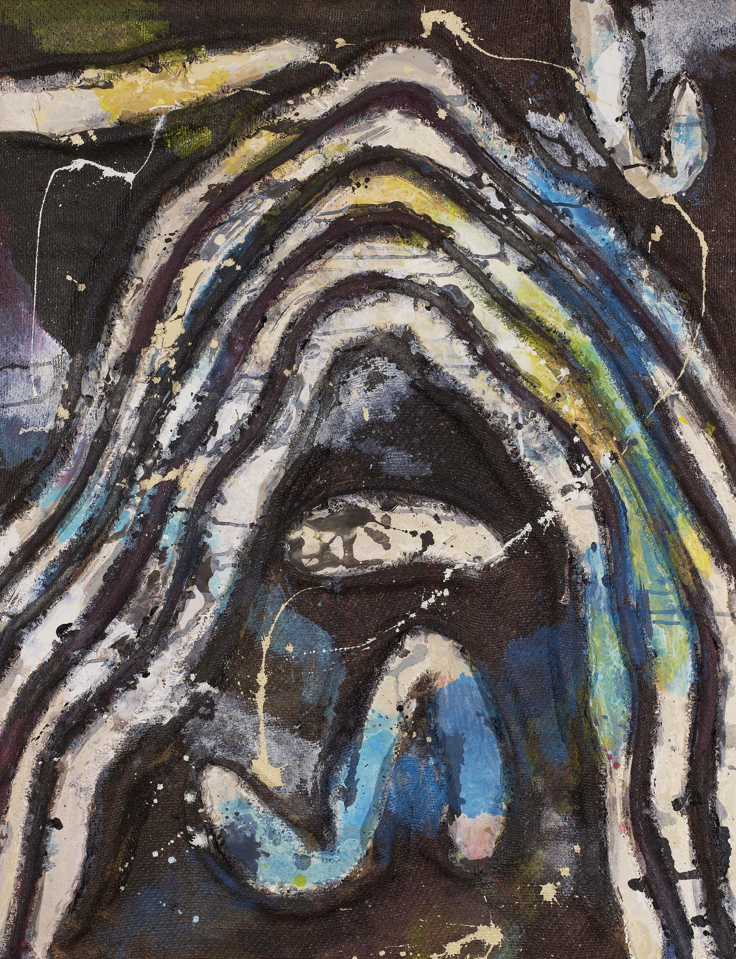 Tsuyoshi Maekawa, Work 140629, 2014, 116 x 89 cm, Jute et huile sur toile