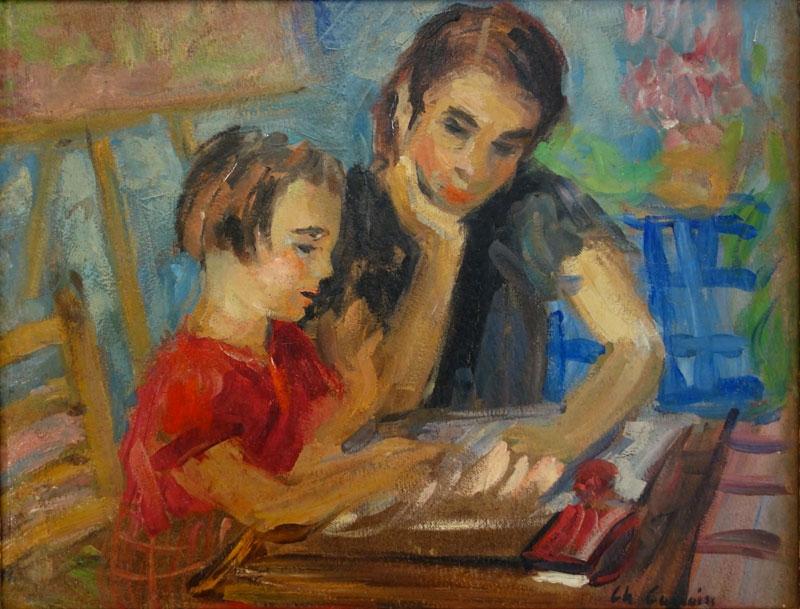 Camoin_(1879-1965)_-_La_Leçon_de_lecture,_1938_Huile_sur_papier_collé_sur_toile,_27_x_35_cm