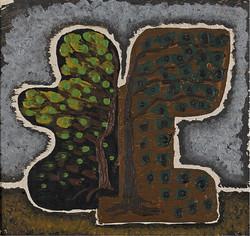 Charchoune (1888-1975) - Deux arbres, 1927 Huile sur toile collée sur panneau, 14 x 15cm
