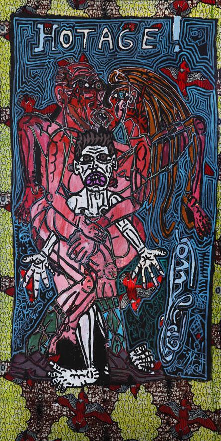 Combas (1957) - Hotage!, Technique mixte sur toile, 230 x 120 cm