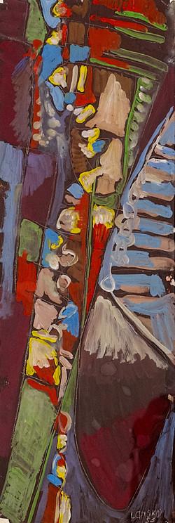 Lanskoy (1902-1976) - Composition sur fond vert, 1956,  Lanskoy (1902-1976) - Composition sur fond v