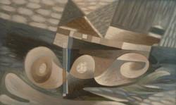 Charchoune (1888-1975) - Volutes et ellipses, 1943-1944, Huile sur toile collée sur panneau, 32,5 x