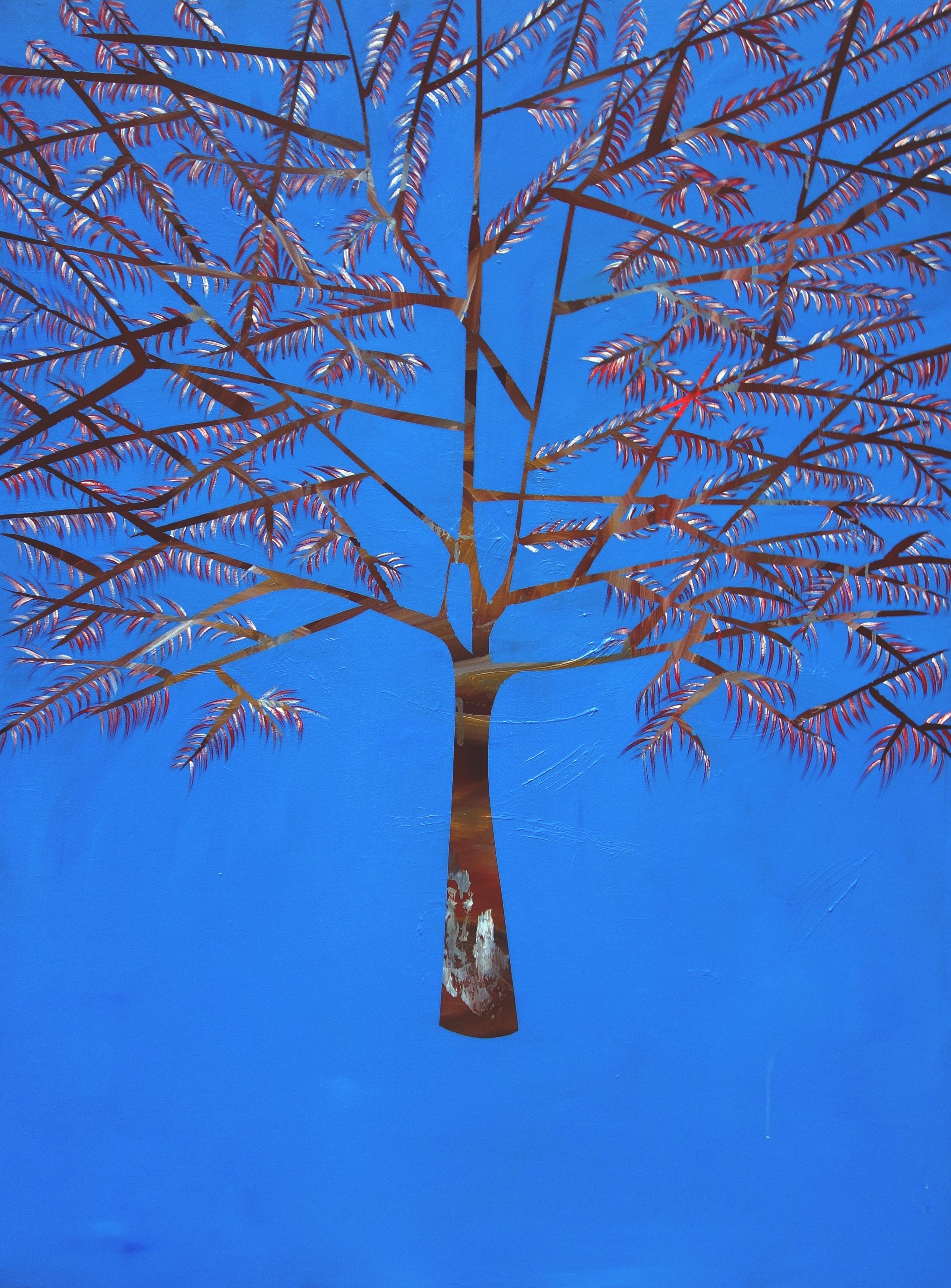 Laura Garcia-Karras, Sans Titre (blue tree), 2017, Huile sur toile, 162 x 97 cm, Courtesy de l'artis