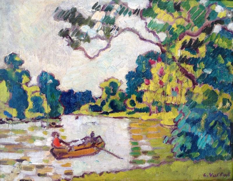 Valtat (1869-1952) - Canotage au Bois de Boulogne, Huile sur toile, 27 x 35 cm