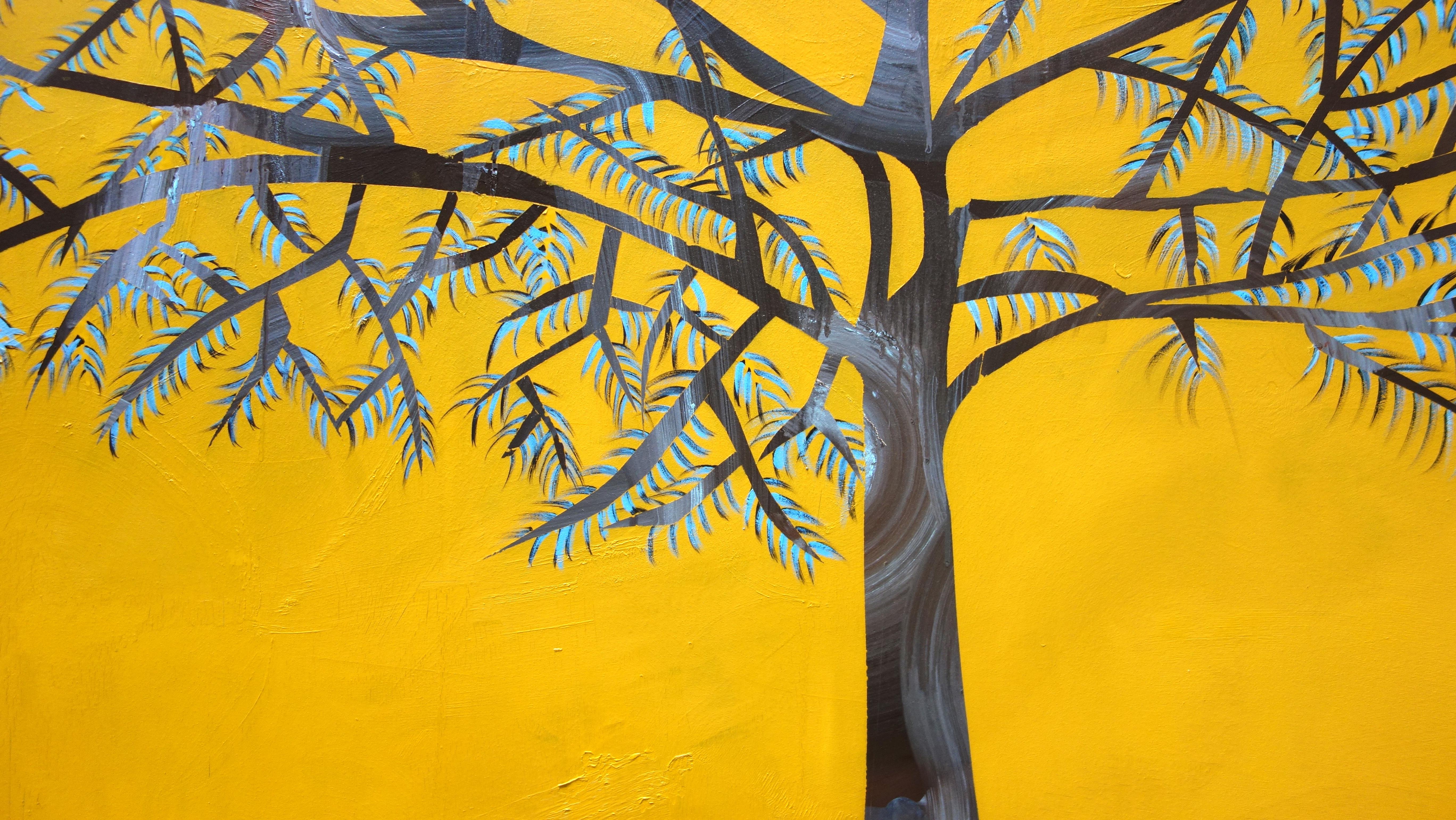 Laura_Garcia-Karras,_Sans_Titre_(yellow_tree),_2017,_Huile_sur_toile,_162_x_97_cm,_Courtesy_de_l'art