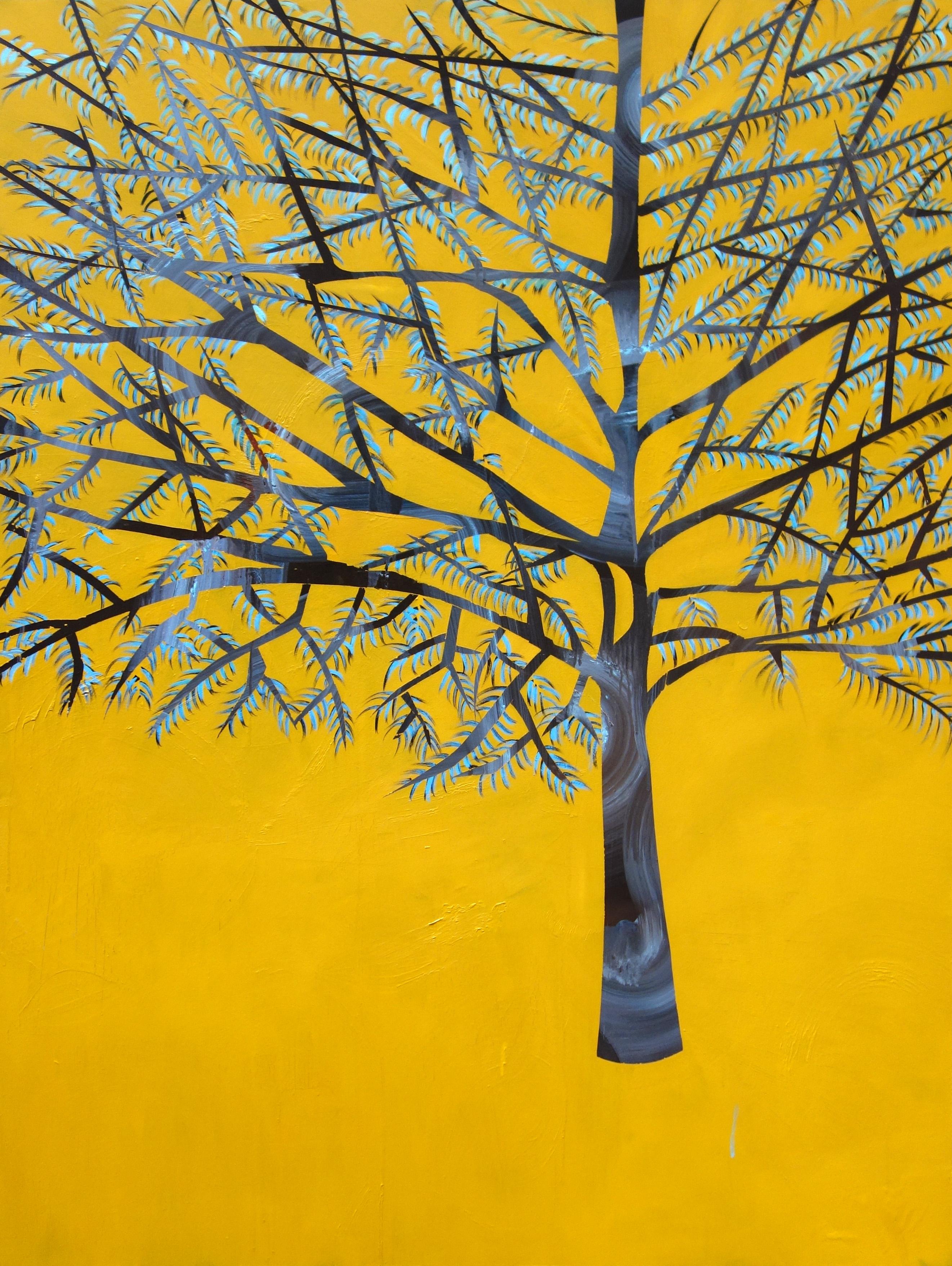 Laura Garcia-Karras, Sans Titre (yellow tree), 2017, Huile sur toile, 162 x 97 cm, Courtesy de l'art