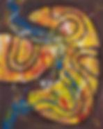 acheter gutai, gutai maekawa, acheter art japonais, tableau abstrait, marron, jaune