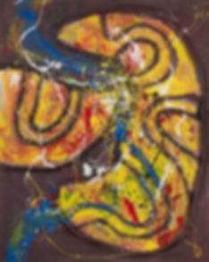 Tsuyoshi MAEKAWA, Untitled 141262, 2014 - 165x133.6cm, peinture Gutai, Shiraga, Shimamoto, Imai, Tanaka