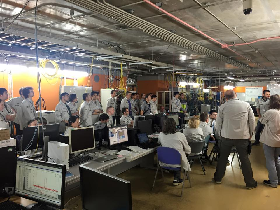 Team talk at the RIKEN lab in Japan