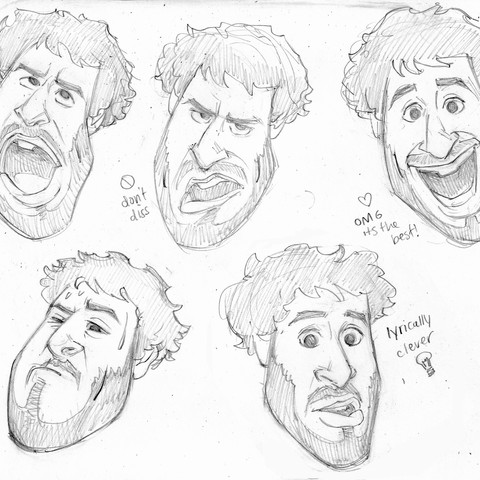 """Lil Dicky """"Profesional Rapper"""" character design"""