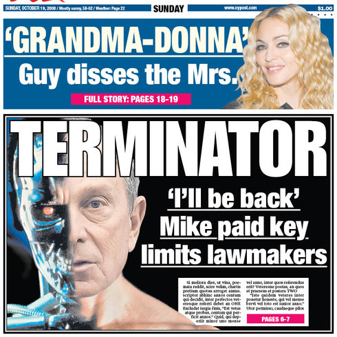 Front Page design, for the NY Post