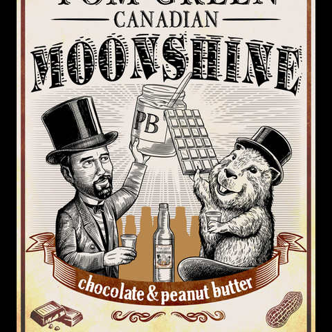 Tom Green Canadian Moonshine label, Chocolate & Peanut Butter