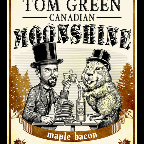 Tom Green Canadian Moonshine label, Maple Bacon
