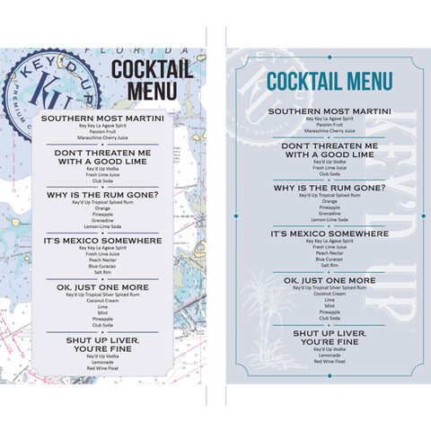 Key'd Up cocktail menu, for Key'd Up