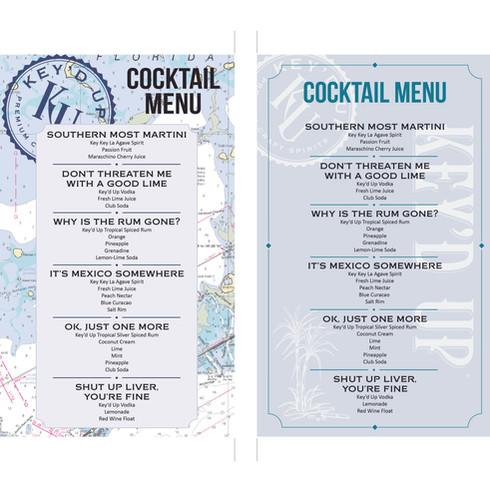 Key'd Up cocktail menu, for Key'd Up