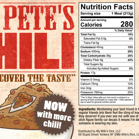 Crazy Pete's Chili, can label design