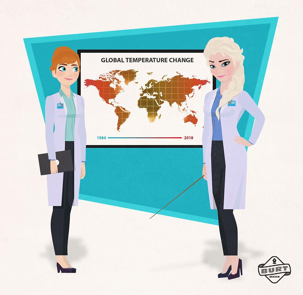 Disney Frozen Elsa and Anna as climate change scientist