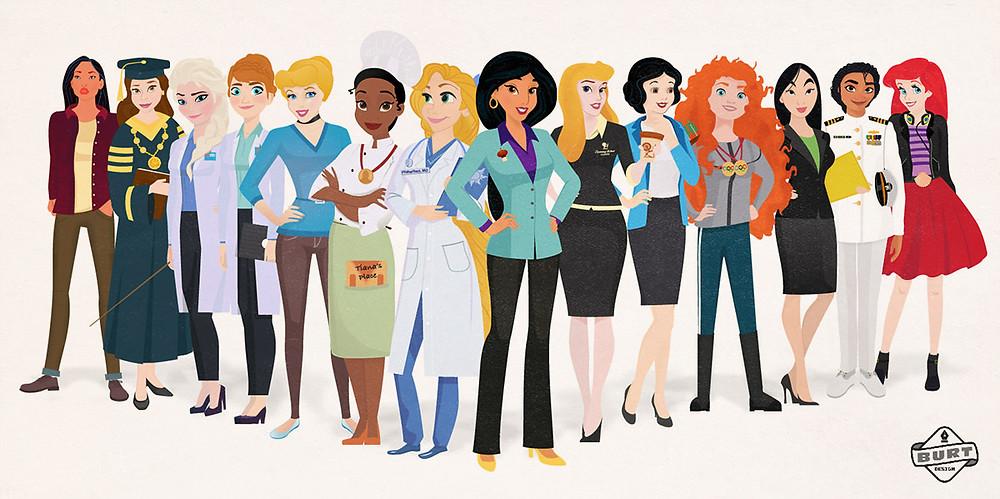 Simply Thrifty Living graphic designer Matt Burt's artwork Disney Princess as career woman.