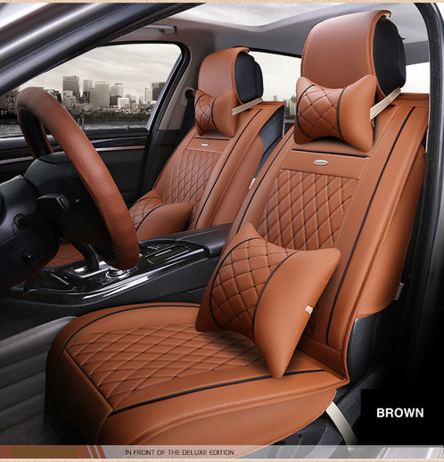 Luxury Seat Cover Set In Lafite Cream Brown Caramel Dark Chocolate Black With Red Trim Bonus Wheel