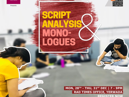 Workshop: Script Analysis and Monologues with Rangaai Theatre!