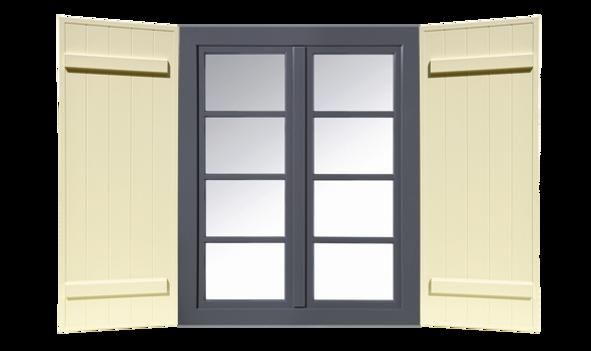 Fensterladen isoliert Ansicht mit Fenster