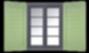 Fensterladen mit Brettprofilfüllung Anicht mit Fenster