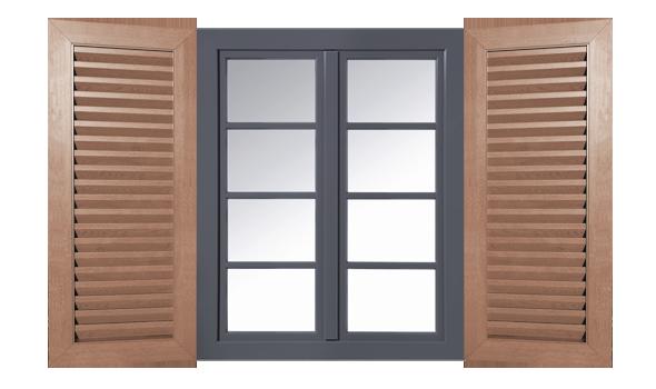 Fensterladen mit Lamellen Ansicht mit Fenster