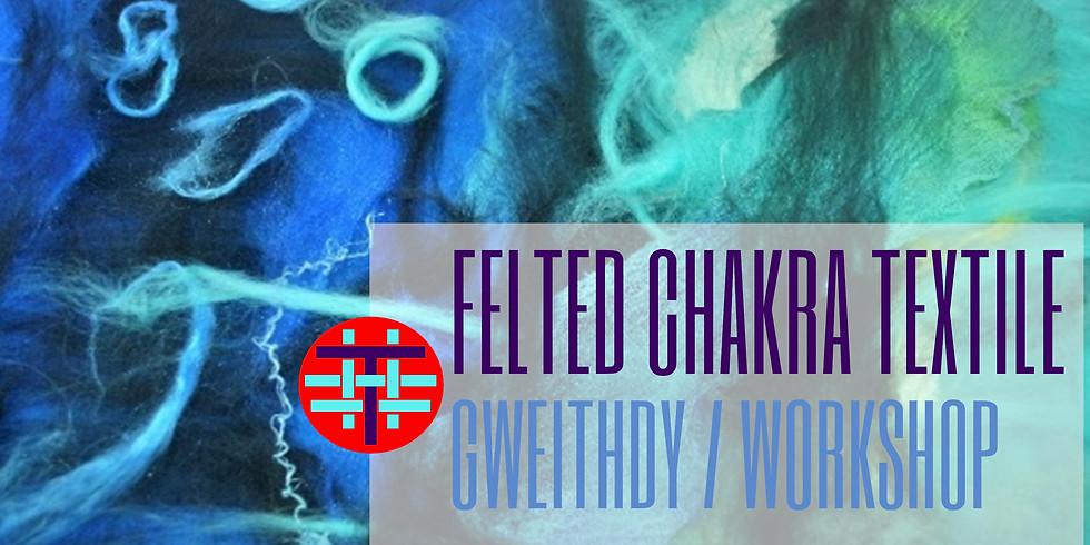 Celf Tecstilau Ffelt Chakra  / Felted Chakra Textile Art