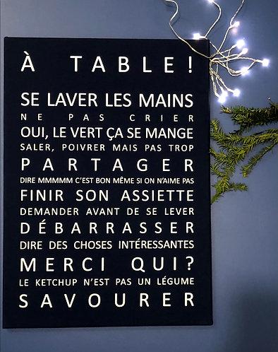 A table bleu marine 50x70