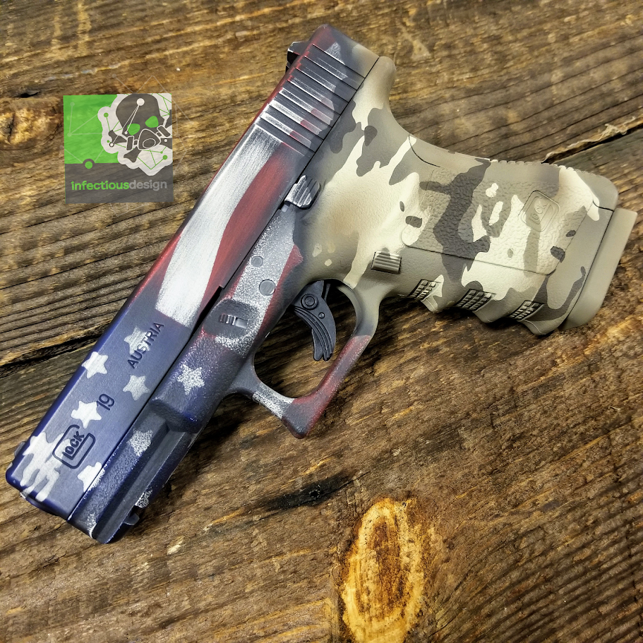Glock american flag with arid multicam