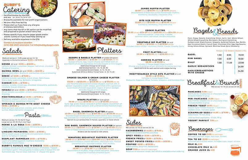 Bubbys Catering Menu Brochure High Quali