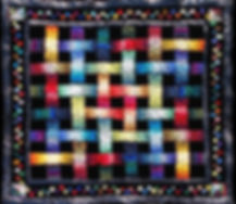 """""""DREAM WEAVER"""" quilt by Todd DuBay. Made of 150 different fabrics and lots of black velvet.  """"Woven Ribbons"""" pattern by Jinny Beyers Studio."""