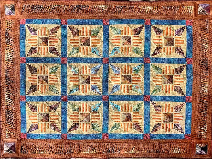 """""""SANTA FE DAYDREAMS"""" quilt by Todd DuBay.  Based on the 'Zia' quilt design by Kathy Tolbert."""