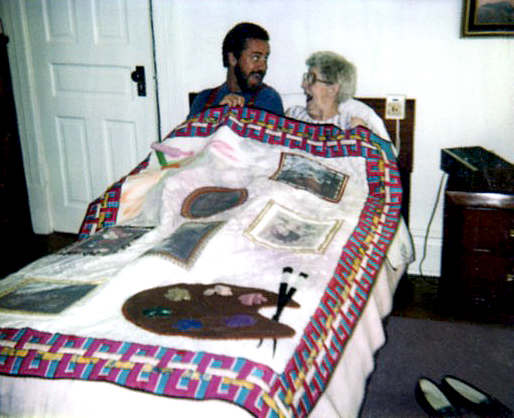 """""""All That is Gail"""" quilt by Todd DuBay 1993 (with Todd & Gail)"""