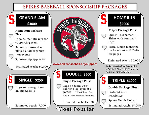 Spikes Baseball Sponsorship Packages Gra