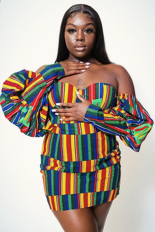 Nwanne African Print Dress