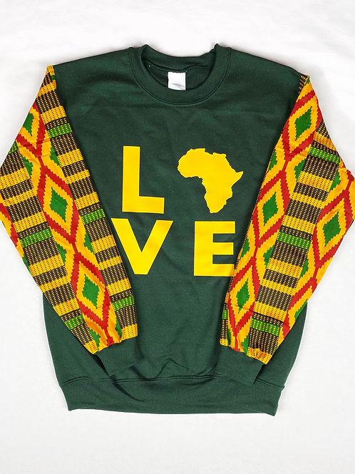 Dark Green/Yellow Africa Love Sweater