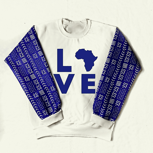 (White/Blue) Love Africa Sweater