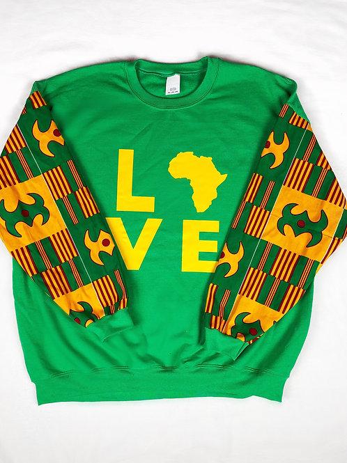 (Green/Mustard Yellow) Love Africa Sweater