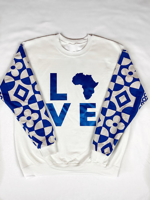 (White/Blue) Africa Love Sweater